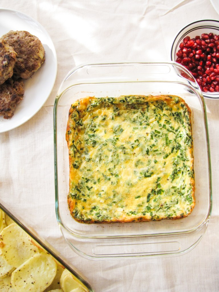 Baked Egg Custard with Gruyere and Chives {Katie at the Kitchen Door}