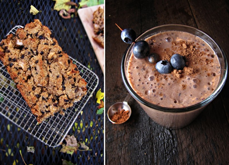 Apple Quinoa Cake and Chocolate Bluberry Smoothie - Winter Cleanse Week One
