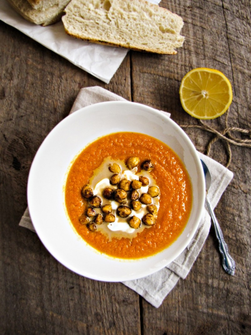 Roasted Carrot and Tahini Soup with Chickpeas {Katie at the Kitchen Door}