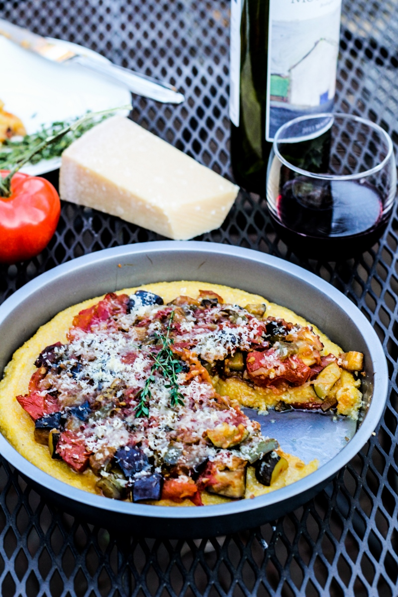 Polenta Pizza with Spicy Ratatouille {Katie at the Kitchen Door}