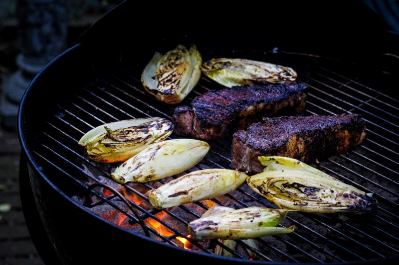 Coffee-and-Chile-Rubbed Strip Steaks, Smoky Belgian Endives {Katie at the Kitchen Door}