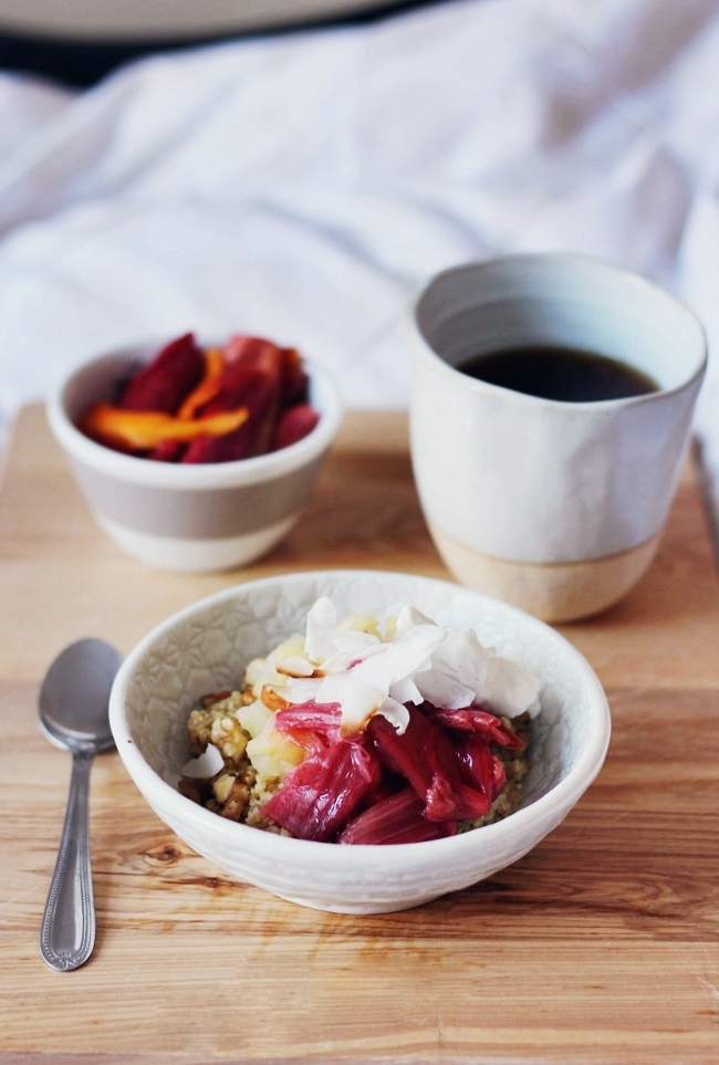 Ingredient of the Week: Rhubarb // Rhubarb Round-Up - Quinoa Porridge with Almond Milk and Rhubarb from Finger Fork Knife