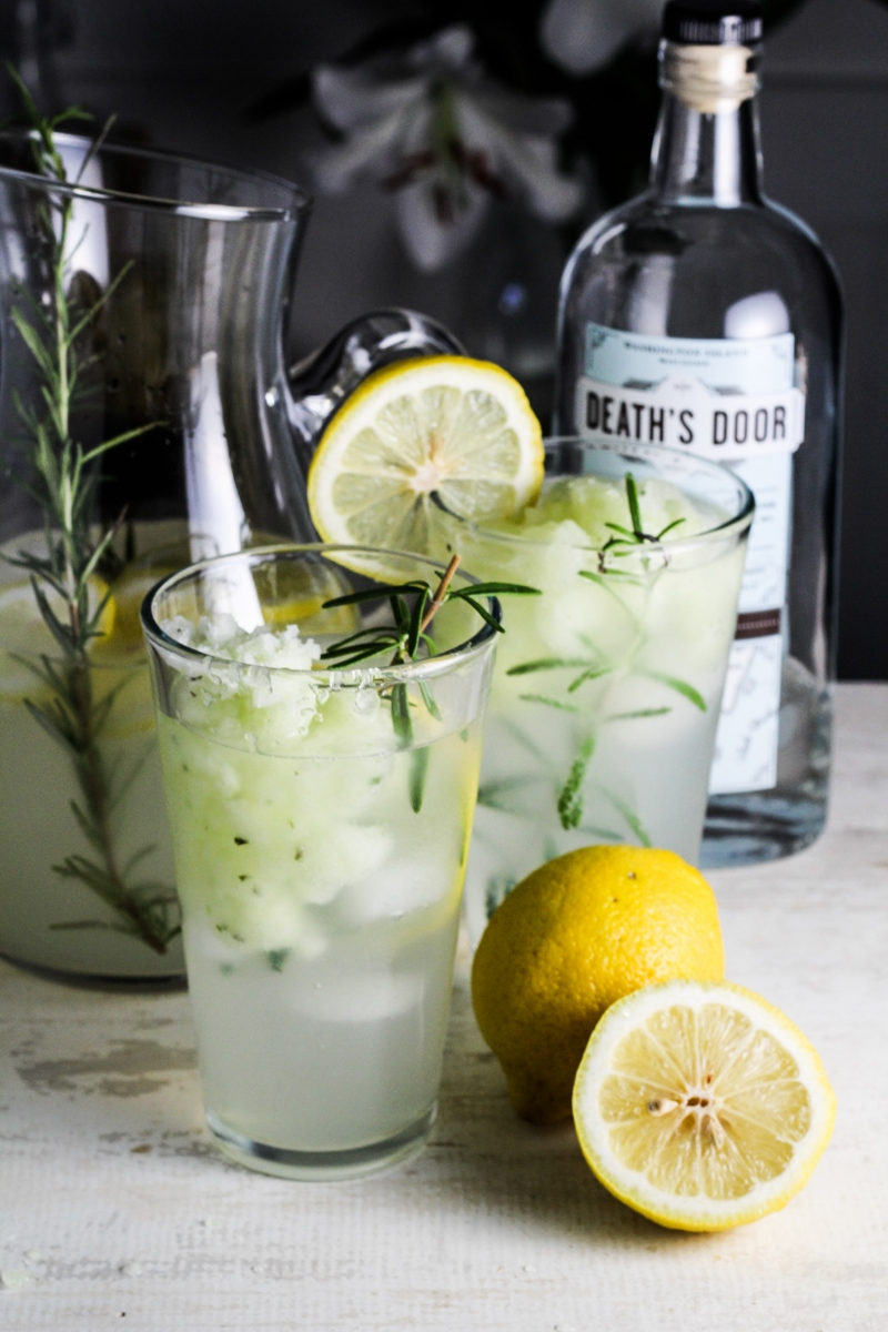 Lemon-Rosemary Gin Fizz with Cucumber Sorbet {Katie at the Kitchen Door}