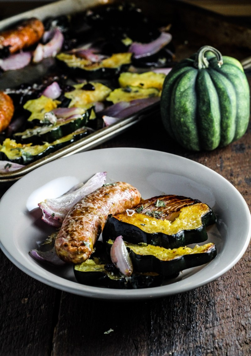 Roast Acorn Squash, Sausage, and Onions with Dried Cherries and Sage {Katie at the Kitchen Door}
