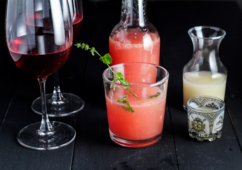 Home-brewed blackberry wine, watermelon soda, and cloudy sake {Katie at the Kitchen Door}
