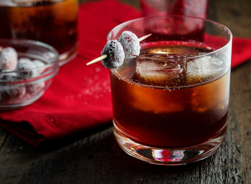 12 Festive Winter Cocktails - Cranberry-Ginger Sparkling Rum Cider #CaptainsTable #Thanksgiving {Katie at the Kitchen Door}