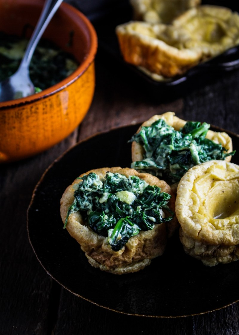 New Yorkshire Pudding with Licorice-Creamed Spinach {Katie at the Kitchen Door}