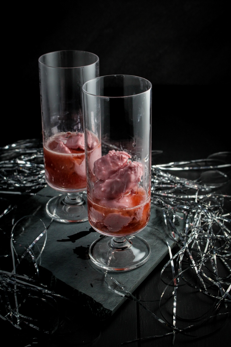 Raspberry Sherbet Champagne Floats | Happy New Year! {Katie at the Kitchen Door}