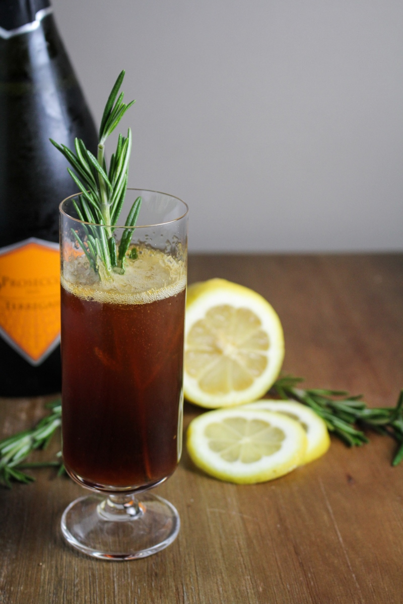 Roman Holiday Cocktail: Lemon, Honey, Amaro, Prosecco {Katie at the Kitchen Door}