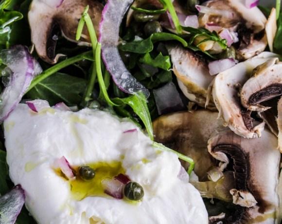 Arugula Salad with Burrata, Shaved Mushrooms, and Truffle Oil