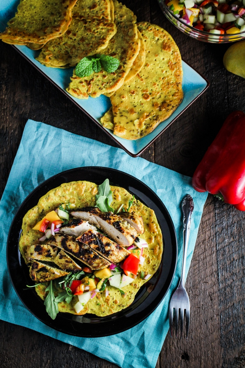 Chickpea Crepes with Grilled Curried Chicken and Mango Salsa {Katie at the Kitchen Door}