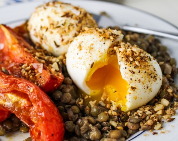Book Club: A Change of Appetite // Lentils, Roasted Tomatoes, and Dukka-Crumbed Eggs