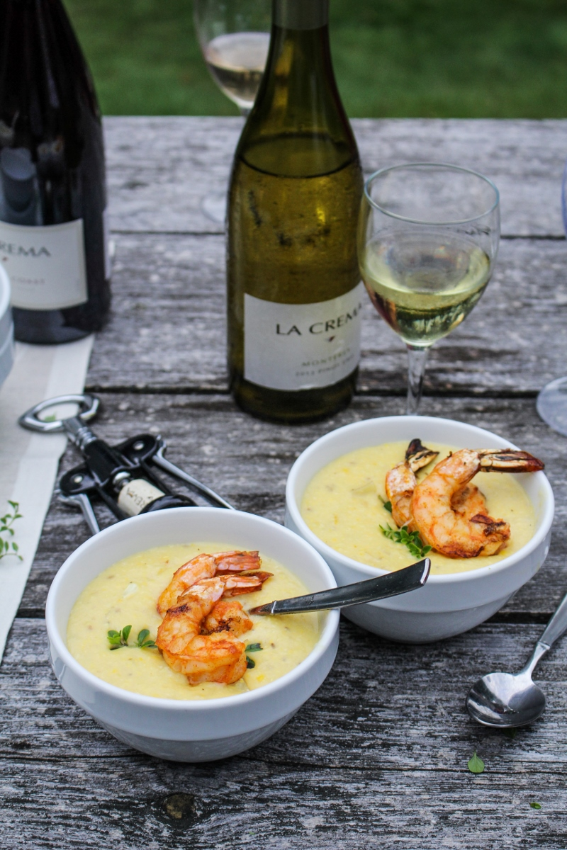 Corn Chowder with Paprika-Grilled Shrimp {Katie at the Kitchen Door}