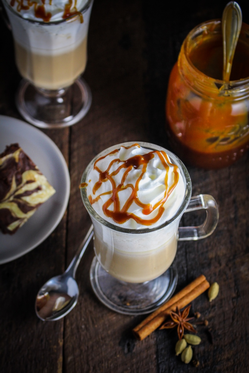 12 Festive Winter Cocktails  - Salted Caramel Chai Lattte {Katie at the Kitchen Door}