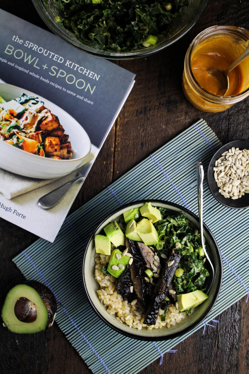 Book club sprouted kitchen bowl spoon tahini kale slaw and tahini kale slaw and tamari roasted portobello bowl katie at the kitchen door forumfinder Image collections