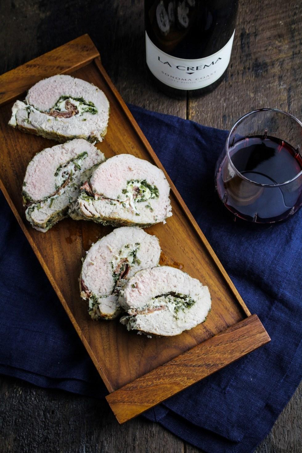 Mozzarella, Prosciutto, and Sage Pesto Stuffed Pork Tenderloin {Katie at the Kitchen Door}