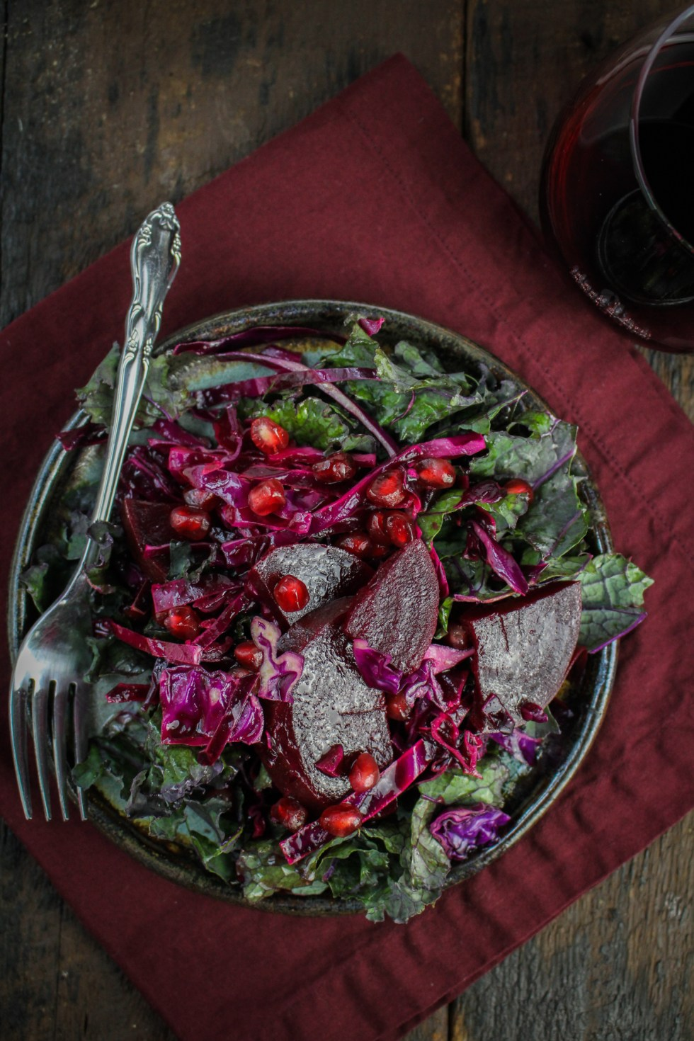 Beet, Pomegranate, and Red Cabbage Salad {Katie at the Kitchen Door}