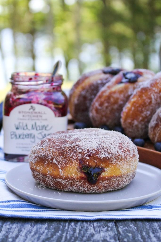 Wild Maine Blueberry Jam Doughnuts {Katie at the Kitchen Door} #ad