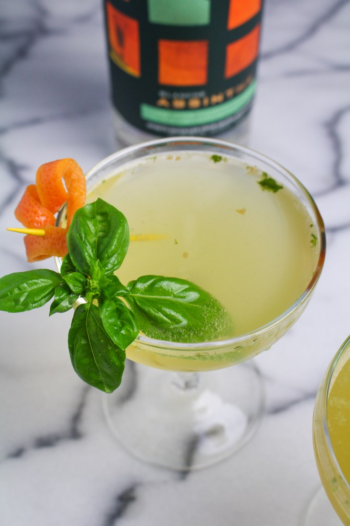 The Green Derby Cocktail - Absinthe, Bourbon, Grapefruit, and Basil {Katie at the Kitchen Door}
