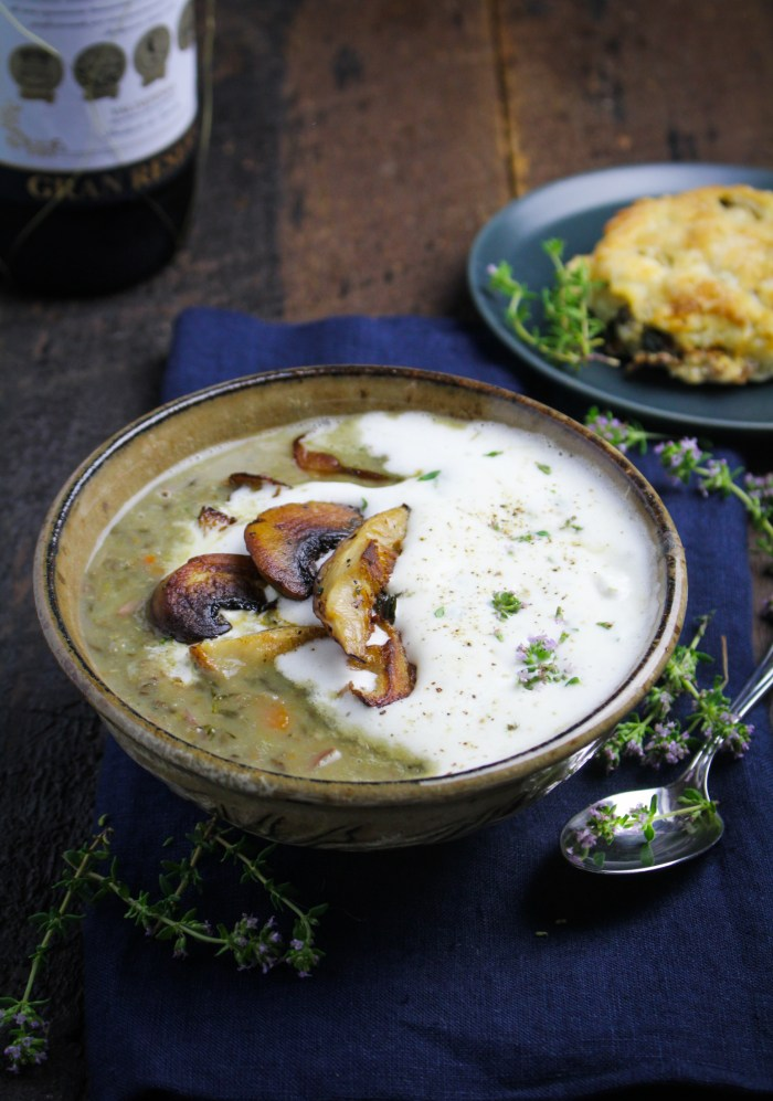 Lentil and Mushroom Soup with Thyme Cream {Katie at the Kitchen Door}