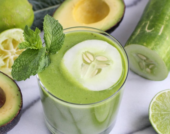 Cucumber-Avocado-Lime Green Smoothie