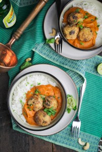 Malai Kofta - Vegetarian Potato-Paneer Balls in Tomato Cream Curry {Katie at the Kitchen Door}