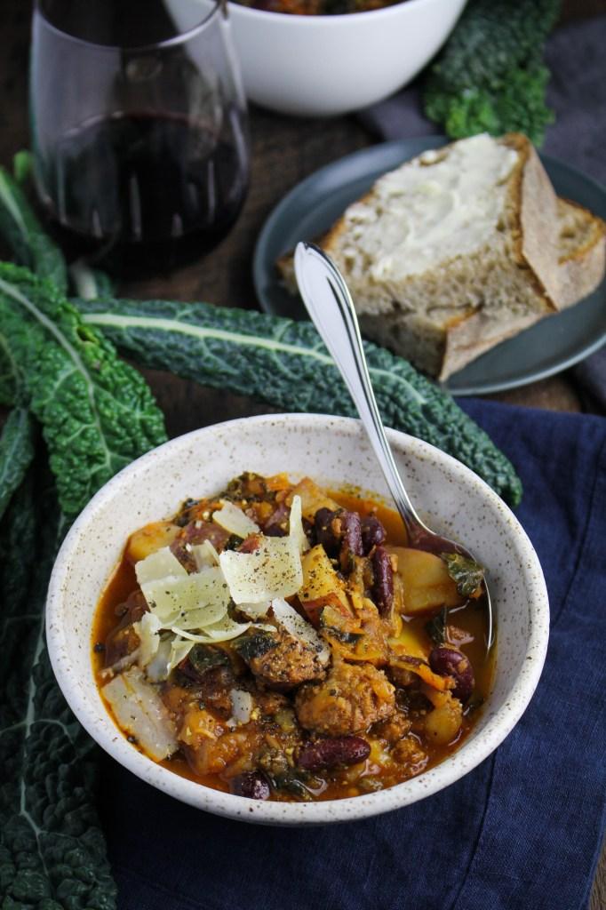 Portuguese Kale and Linguica Soup {Katie at the Kitchen Door}