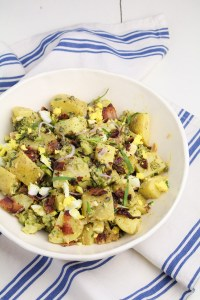 Potato Salad with Broccoli, Bacon, and Gribiche Dressing {Katie at the Kitchen Door}