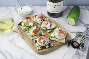 Smoked Salmon Rye Crackers with Caper Cream {Katie at the Kitchen Door} - sponsored by La Crema Wines