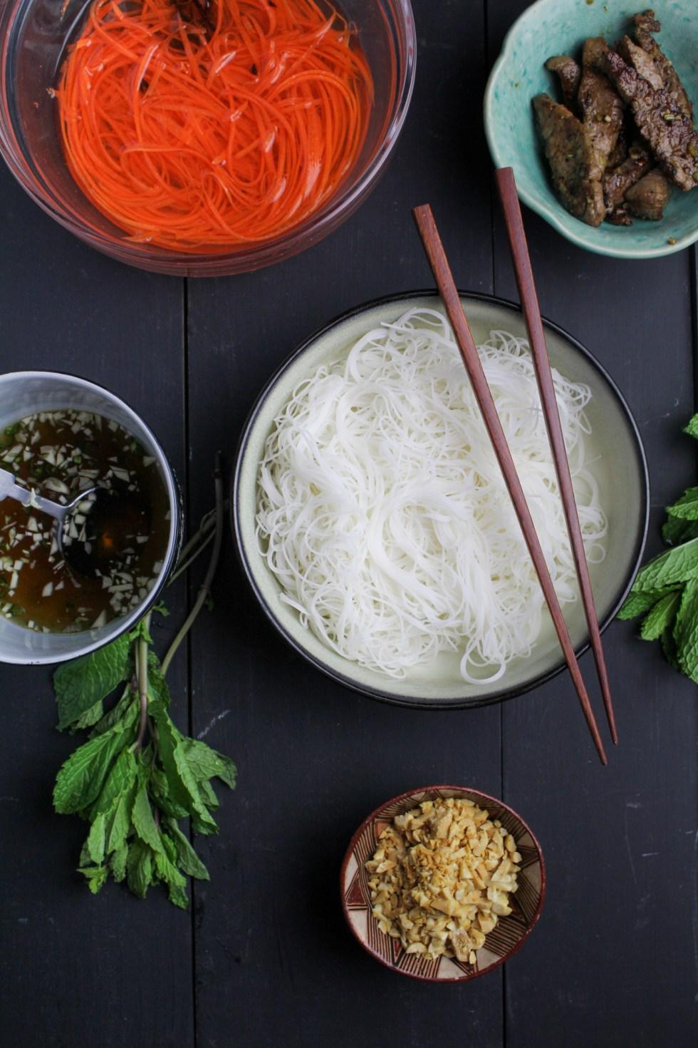 Bún Bò Xào - Vietnamese Rice Noodle Salad with Lemongrass Beef