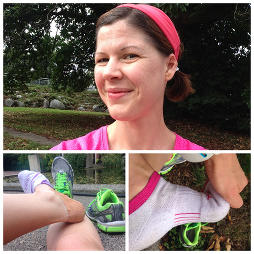 (Top) Taken moments before the beads of sweat on my forehead became beads of sweat in my eyes – youch! (Left) From my run on Saturday when my foot was freshly taped and I felt not even a tick of an ache for the whole run. (Right) Toe cramp! Toe cramp! Toe cramp!