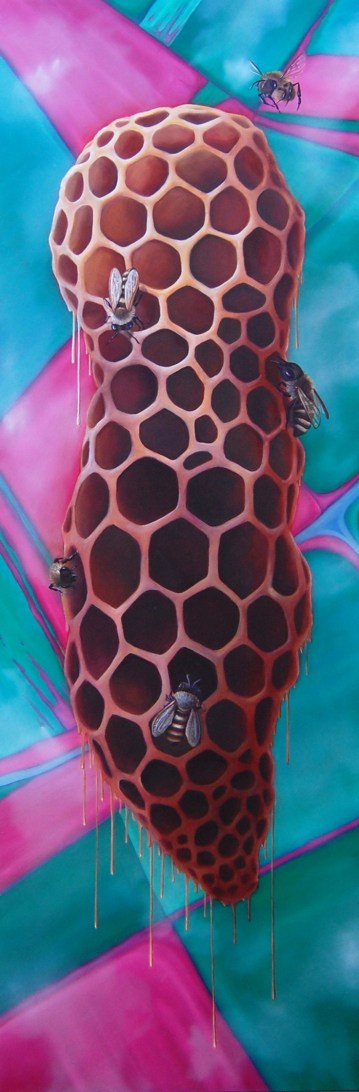 "Neonics • 2014 • Oil on Panel • 12""x36"""