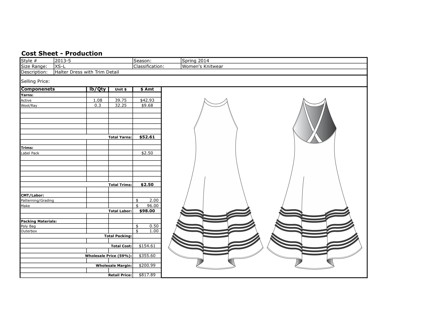 Cost Sheet Examples