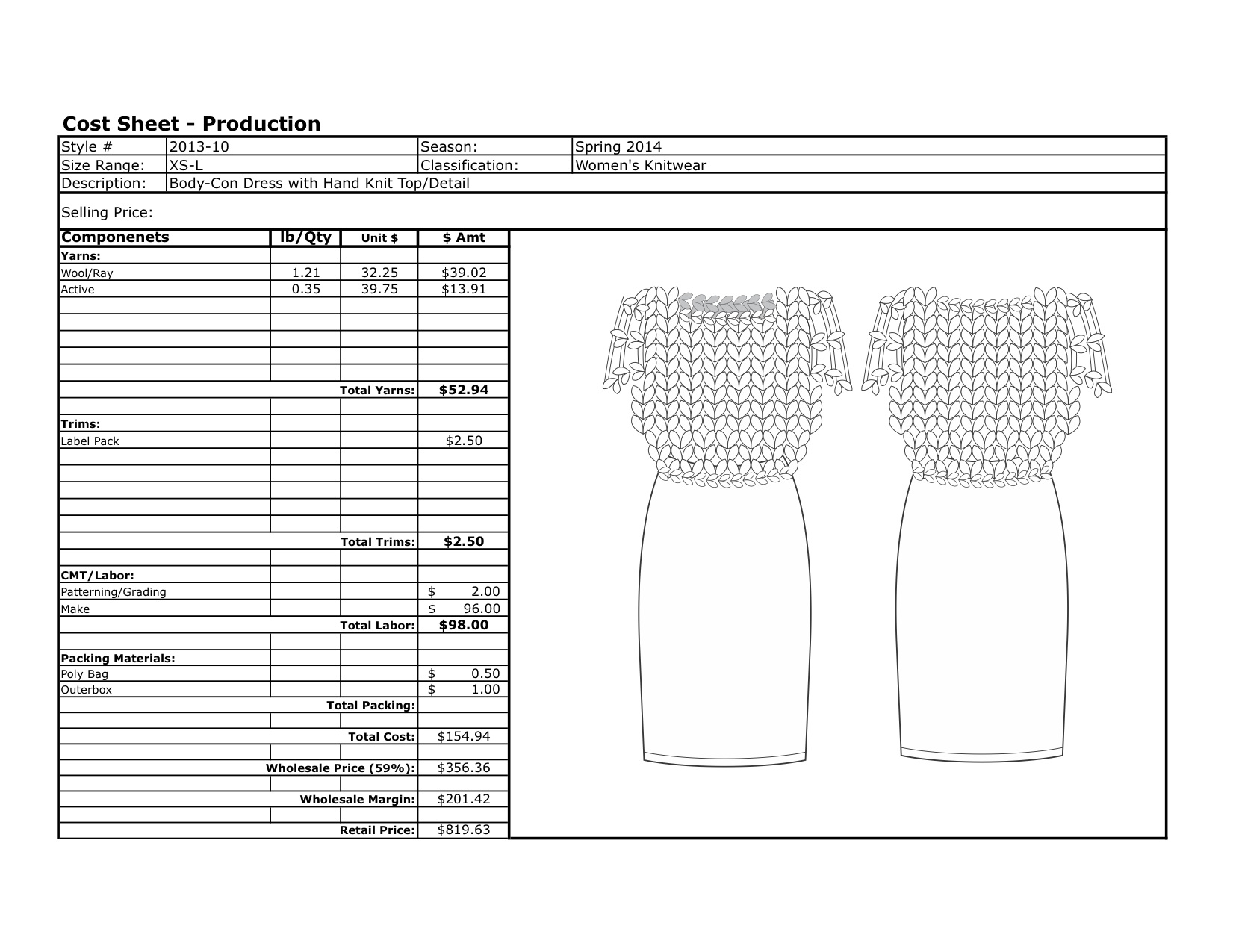 Cost Sheet Examples – Katiechick