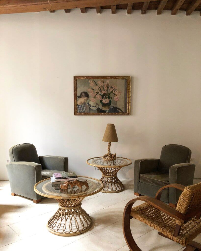 rattan side tables living room curtain styles for atelier vime woven round french minimimalist country interior