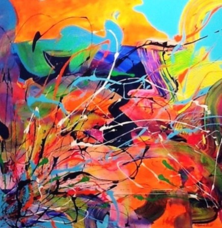 This is a photograph of a piece of abstract art called Colour Bonanza 2018 by Roxanne Bell. This mixed media art is so bright and colourfull and is all the colours of the rainbow