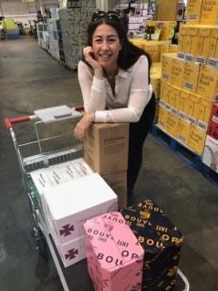 Katie buying wine in Majestic Wine Calais in France because it is much cheaper than buying it in the UK