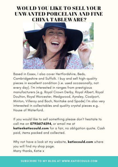 Sell your unwanted porcelain and fine china tableware with katiecould
