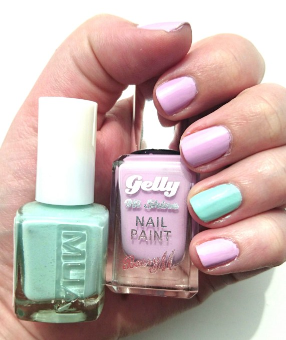 Barry M Gelly Hi Shine Nail Polish in Fondant and MUA Nail Varnish in Pistachio Ice Cream