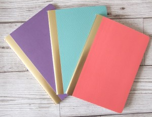 Mint, coral and purple gold edged mini notebooks Home office makeover copper mint pink & copper memoboard noticeboard