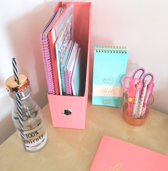 100% Thirsty Water Bottle Home office makeover copper mint pink & copper memoboard noticeboard