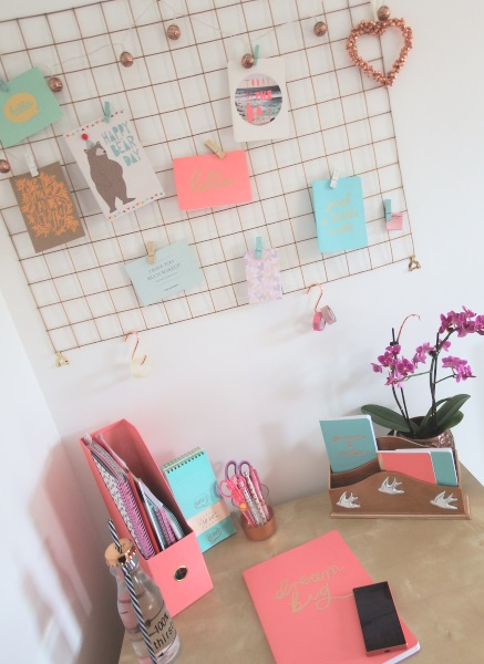 Home office makeover copper mint pink & copper memoboard noticeboard