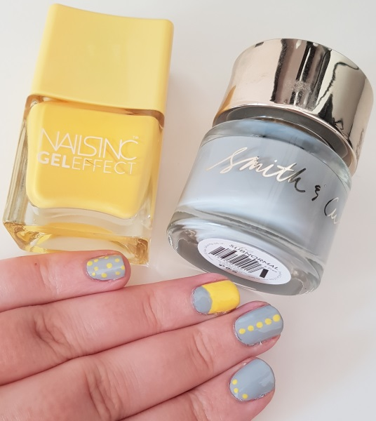 Yellow and grey nail art Nails Inc Seven Dials Smith & Cult Subnormal