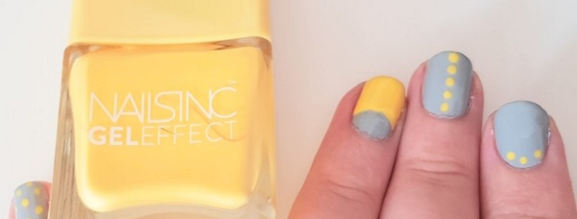 Yellow and grey nail art Nails Inc Seven Dials Smith & Cult Subnormal nails nail art mani