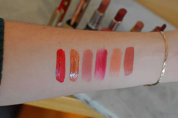 Swatches of the Lipsticks I've Worn This Week