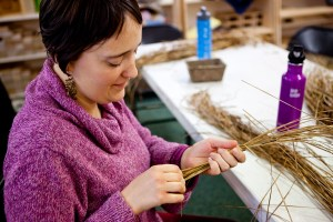Clara working with sedges  as we began our baskets