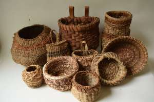 Twined, Coiled, And Plaited Bark Baskets