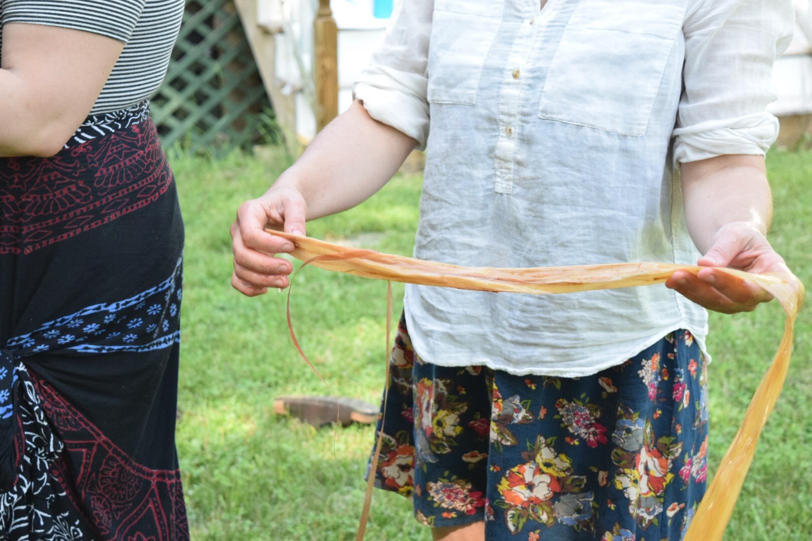 rinsing basswood fiber
