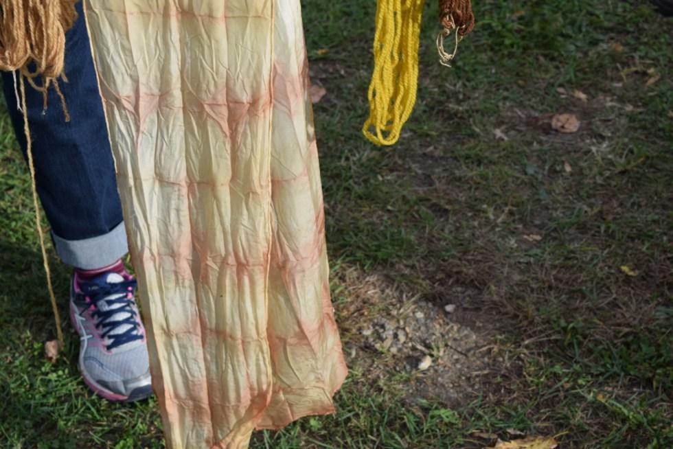 Mugwort and marigold dyed silk scarf