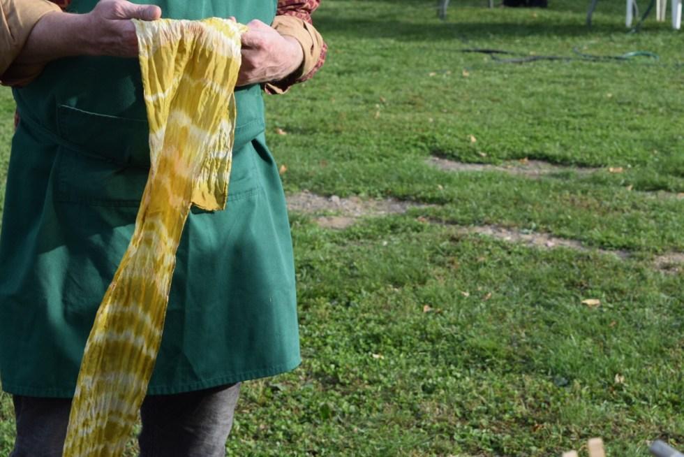 marigold dyed scarf